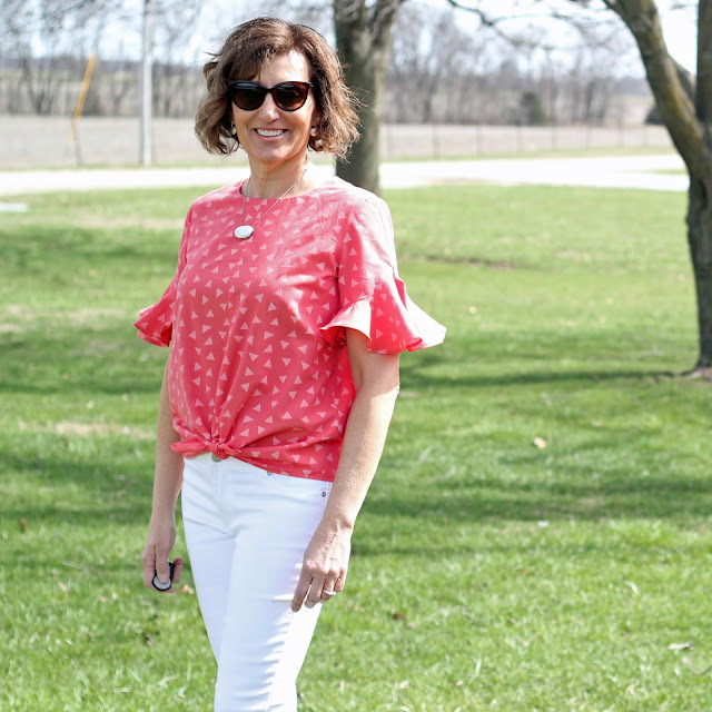 Simplicity 8601 top made from Style Maker Fabrics' shirting