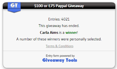 WINNER of $100 or £75 Paypal Giveaway - CARLA AIMS