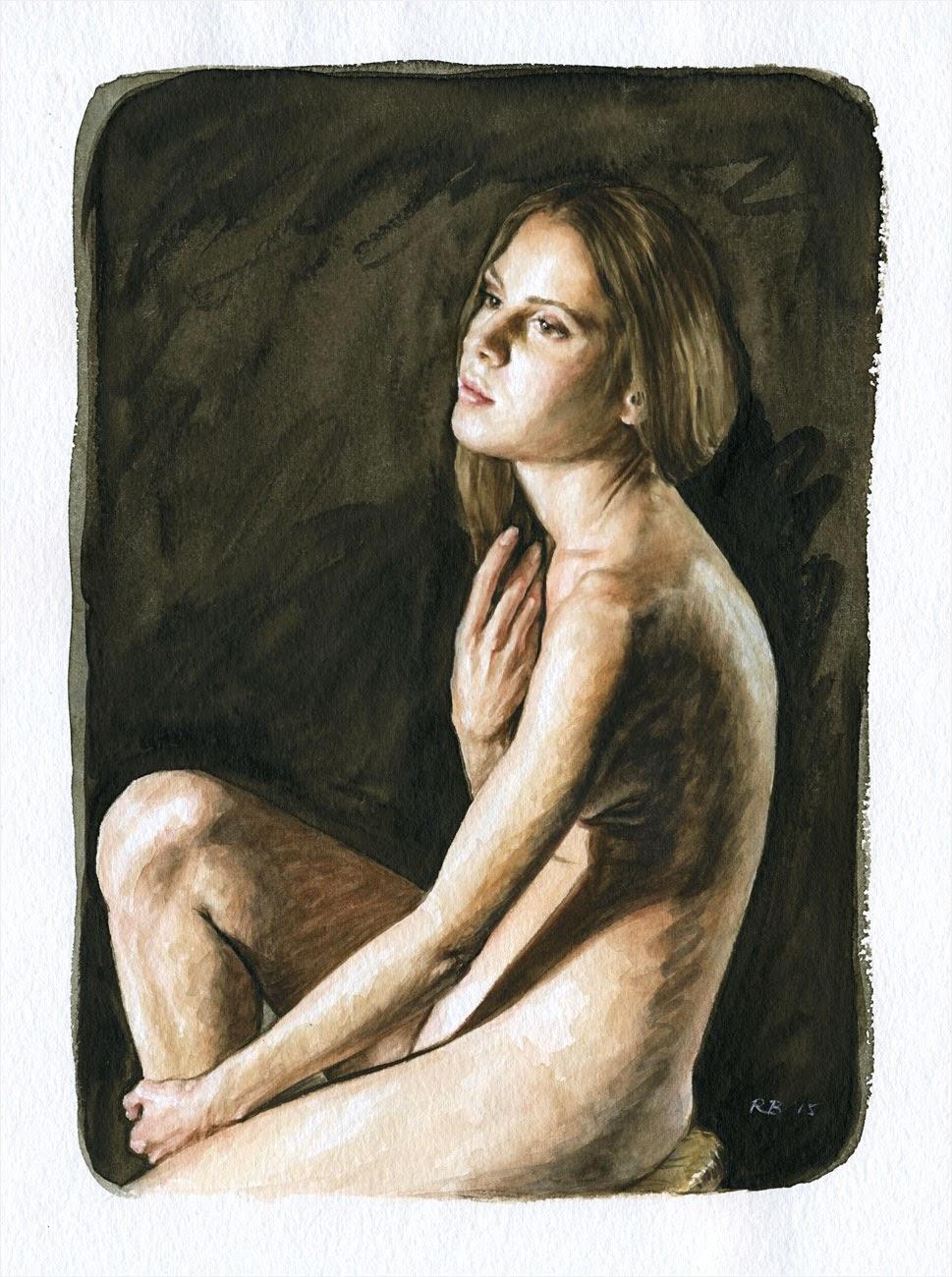 René Bui - Etude de nu à l'aquarelle 150123 - 2015
