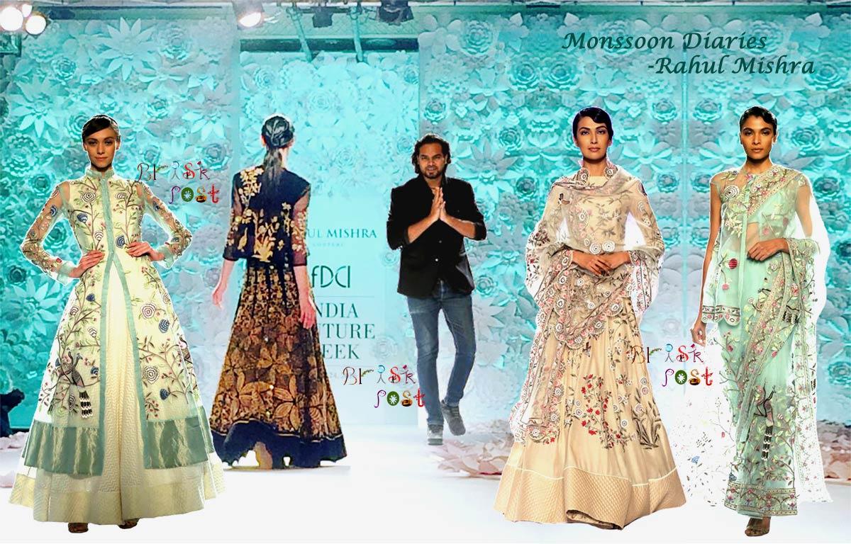 Elegant handmade bridal designs Monsoon Diaries by Rahul Mishra at India Couture Week 2016