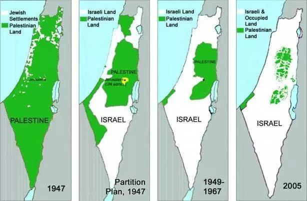Gambar Peta Palestina dari tahun ke tahun di atas penjajahan Zionis Israel
