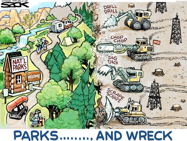 Title:  Parks . . . and Wreck.  Image:  Line of bulldozers and other heavy equipment heading towards a national park, leaving devastation in their paths.
