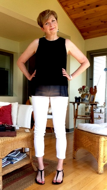 black Rag and Bone tank, white NYDJ jeans