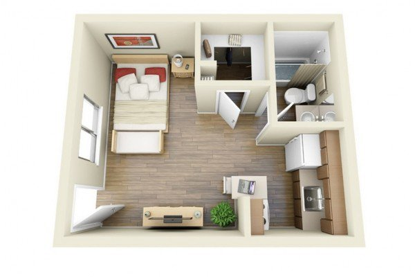 one bedroom house plans with separate bathroom and one window
