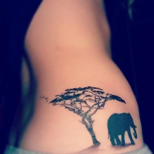 A silhueta de um elefante é visto ao lado de uma árvore.
