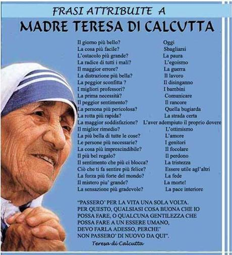Auguri Matrimonio Madre Teresa : Leggoerifletto vivi la vita beata madre teresa di calcutta