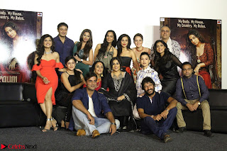 Vidya Balan with Ila Arun Gauhar Khan and other girls and star cast at Trailer launch of move Begum Jaan 024.JPG