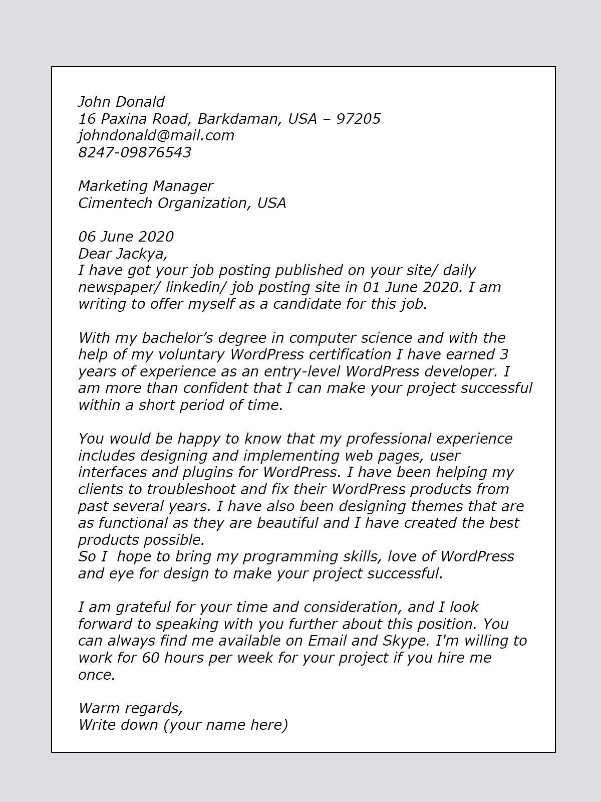 Beautiful Cover Letter Sample For WordPress Developer