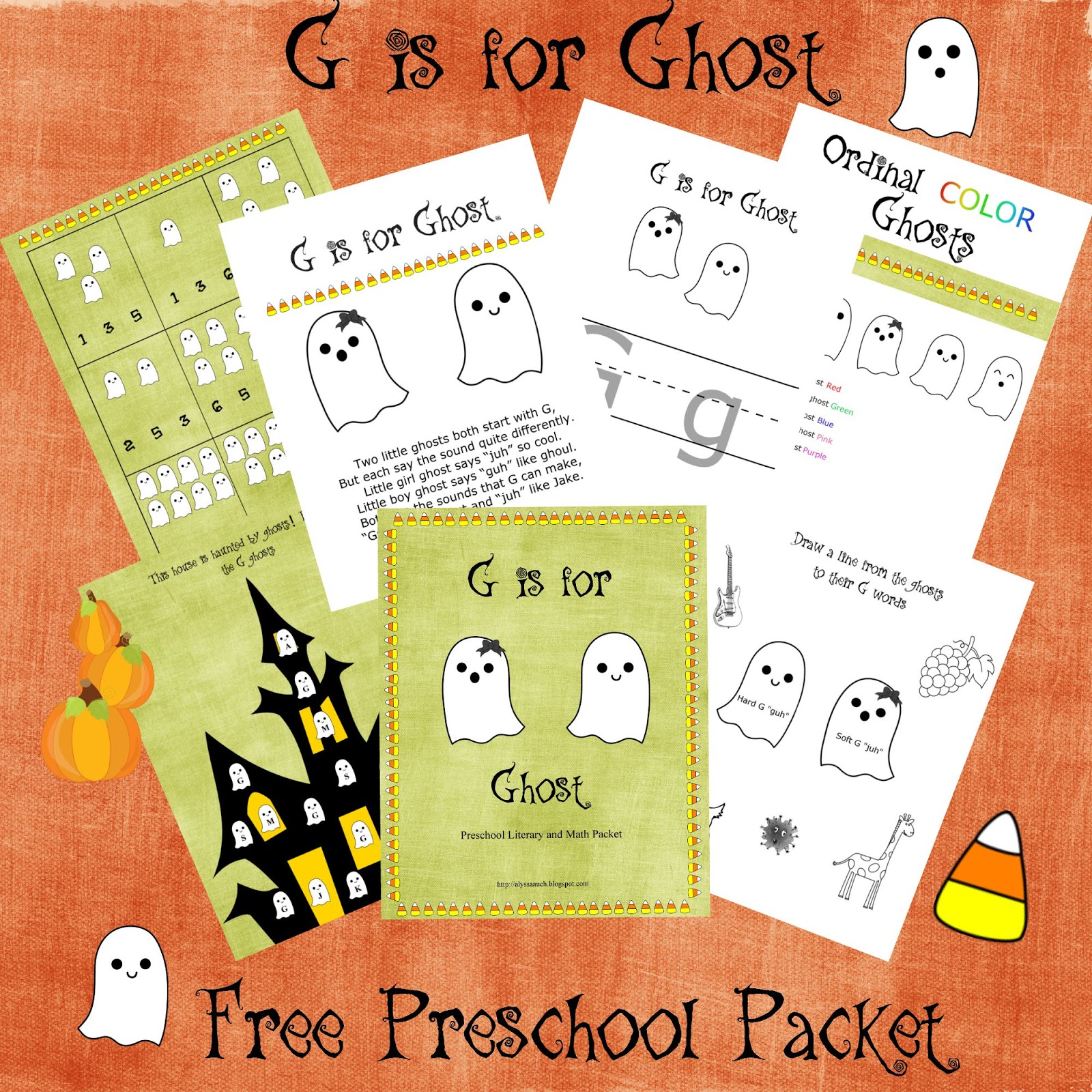 Auchward G Is For Ghost Free Preschool Literary And Math