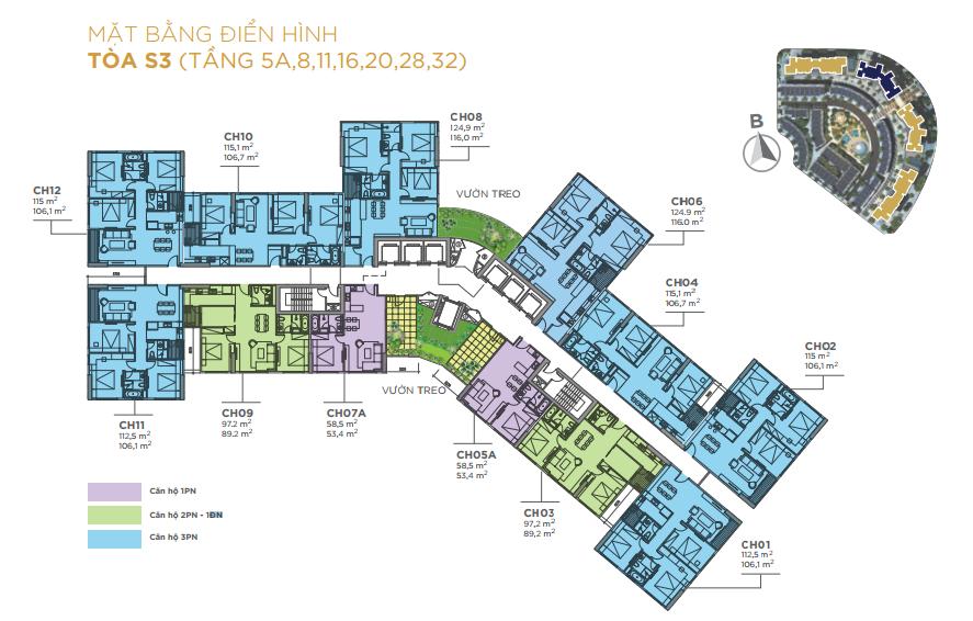 Mặt bằng tầng căn hộ điển hình tầng 5A, 8, 11, 16, 20, 28 32