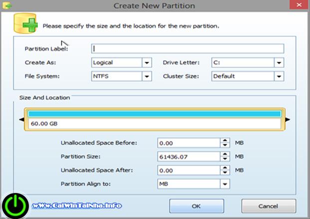 Hướng dẫn phân vùng ổ cứng bằng Partition Winzarp trong Win Mini