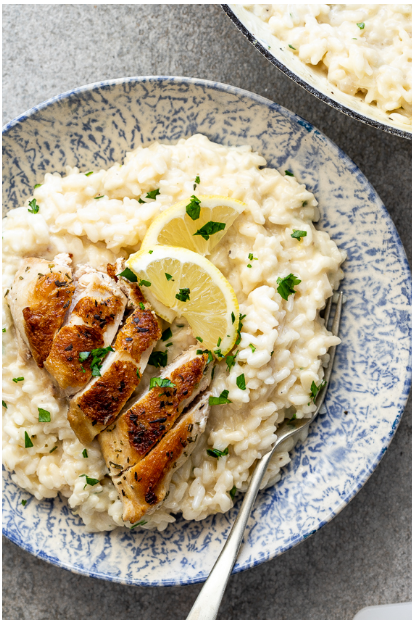 Lemon risotto with pan-roasted chicken