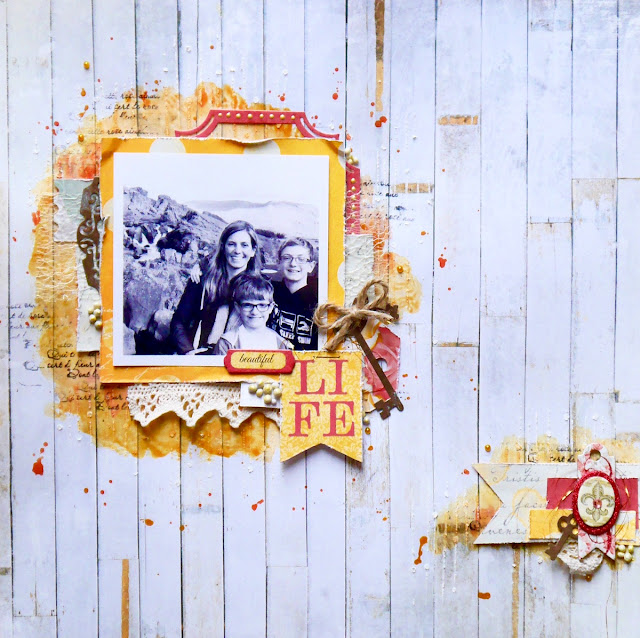 Beautiful Life Scrapbook Page by Katherine Sutton using BoBunny Ayria's Garden