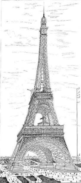 Dibujo de la torre Eiffel publicado en La Ilustración Española y Americana en 1886