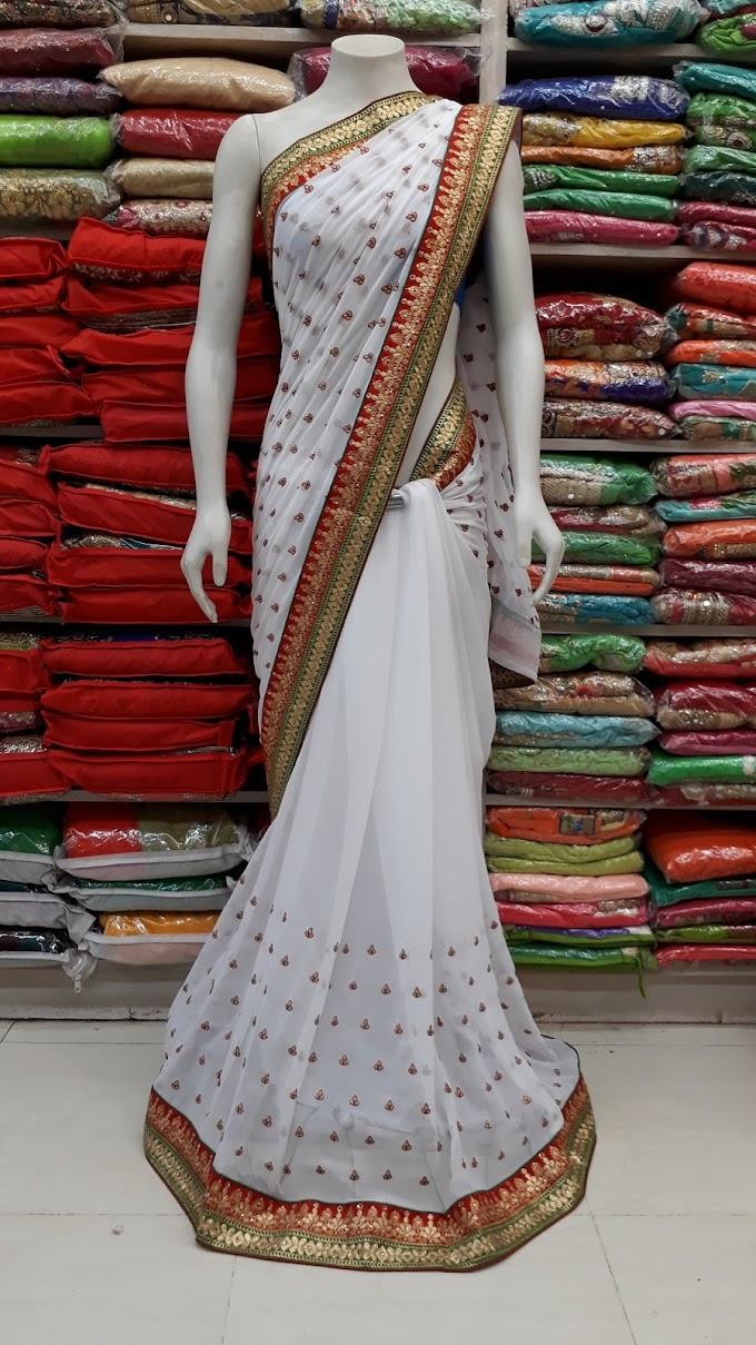 white saree marun border butti gharchola saree by sjarmili saree