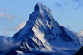A classic view of the Matterhorn, showing the east and north faces