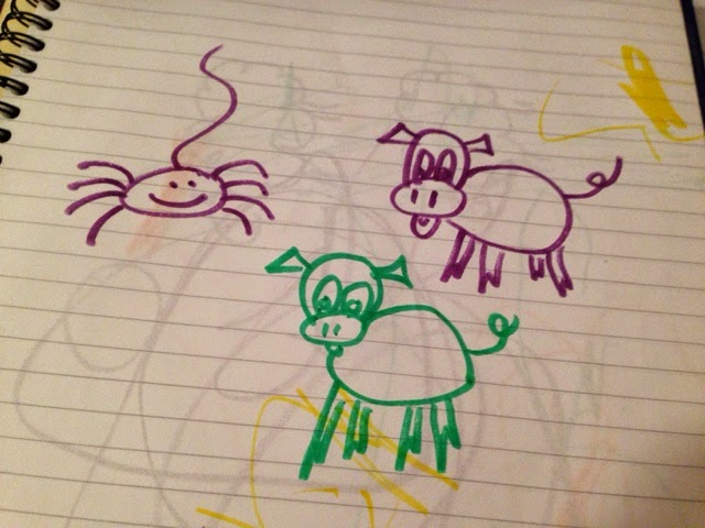 Pen drawing of a spider and two pigs