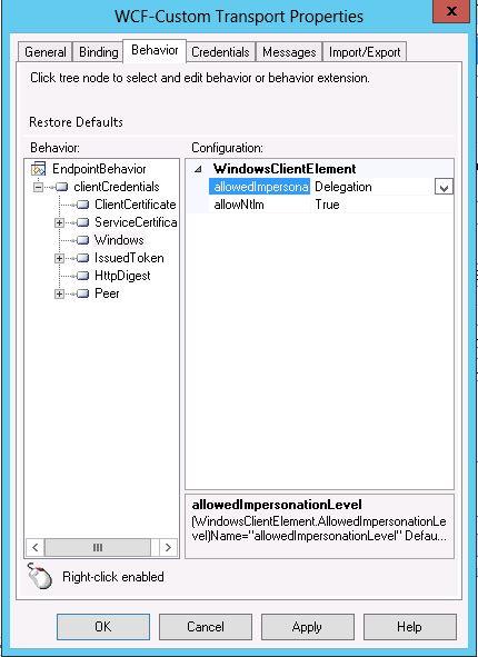 WindowsClientElement property specify it as Delegation