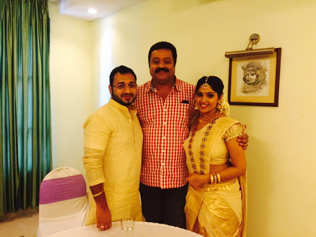 Actress Muktha with Actor Suresh Gopi and fiancee Rinku Tomy