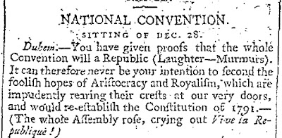 January 30, 1795, edition of the London Times, reporting on the French National Convention in Paris, appears to be the First Mention of the word in English.
