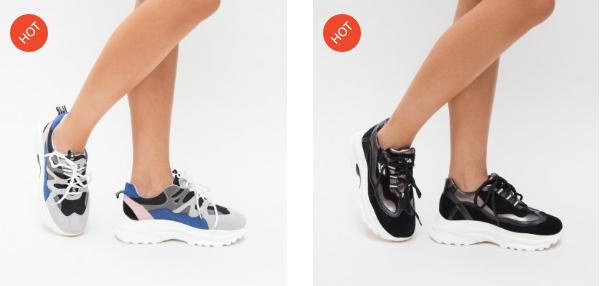 Adidasi albastri, gri de dama pentru tinute casual moderne