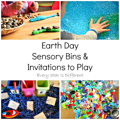 Earth Day sensory bins and invitations to play