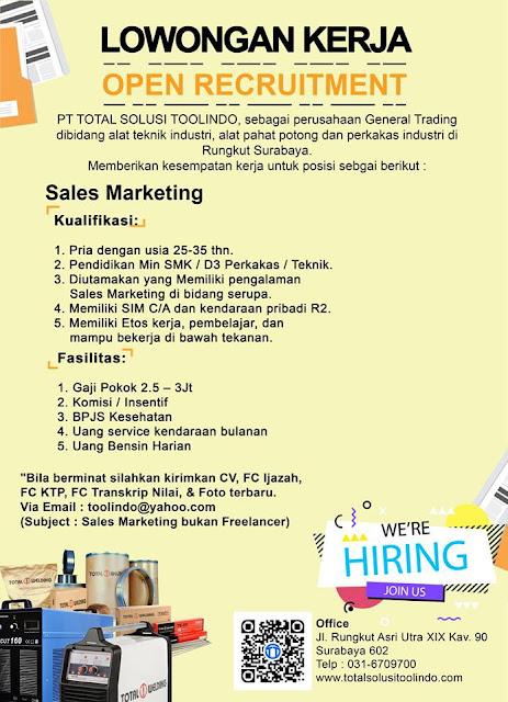 lowongan kerja Marketing PT Total Solusi Toolindo
