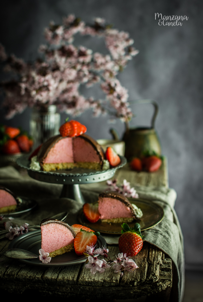 Mousse de fresas con chocolate