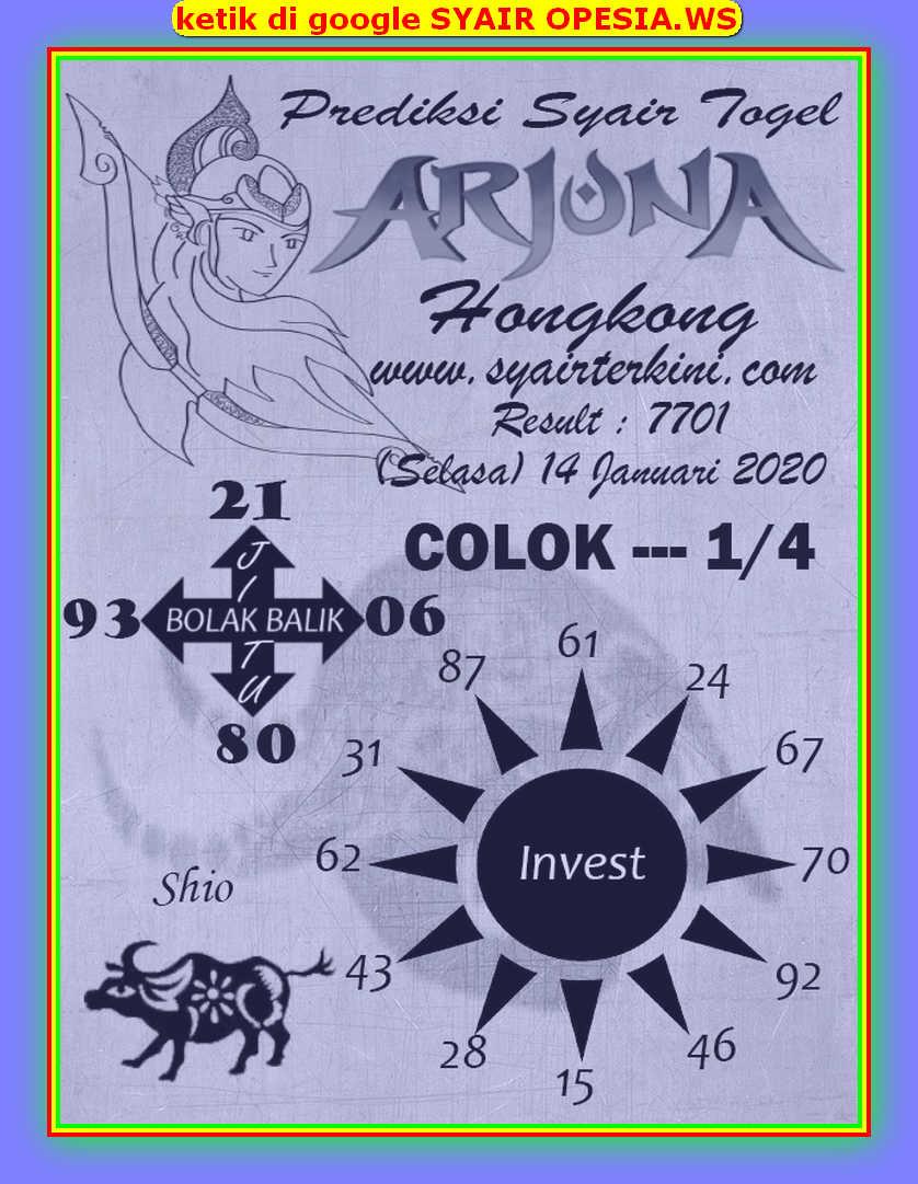 Kode syair Hongkong Selasa 14 Januari 2020 89