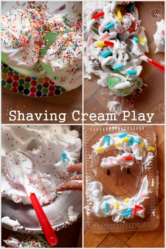 Let's play with shaving cream and water balloons:  Make cupcakes, ice cream, and facial hair
