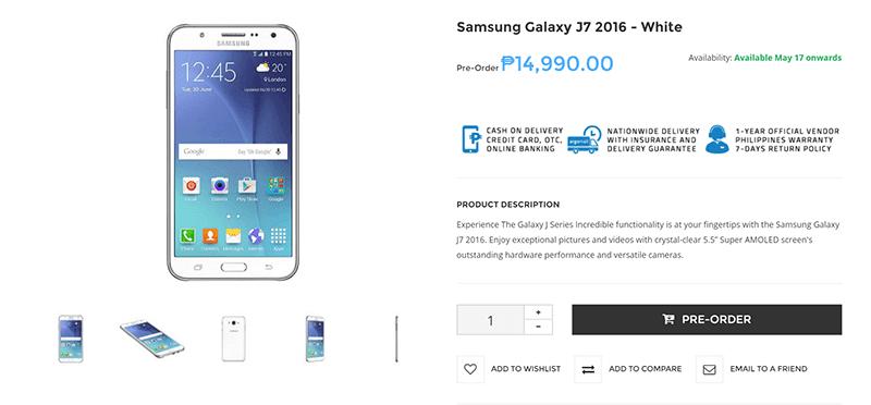 Samsung Galaxy J72 2016 Philippines