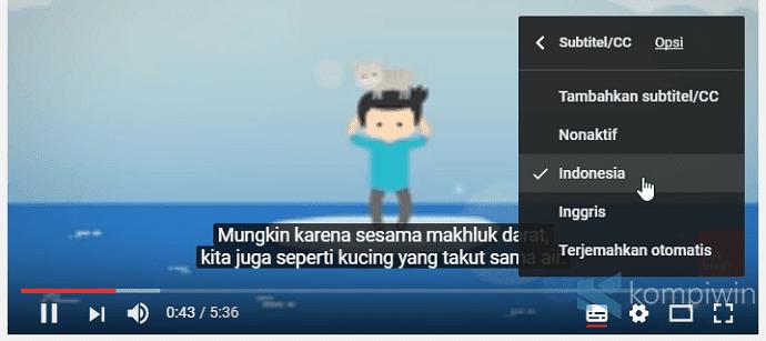 memunculkan subtitle di youtube