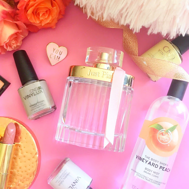 Next Just Pink Perfume, The Body Shop Peach Body Mist, CND Nail Polishes