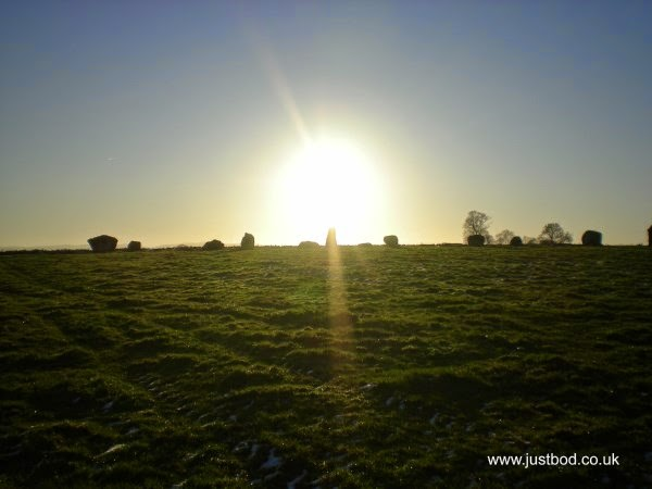 Winter sun setting over Long Meg and her daughters, Cumbria