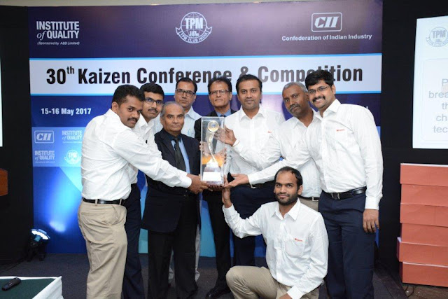 "Toyota Kirloskar Motor stood first & won ""Best Kaizen Award"" at Confederation of Indian Industry (CII)"