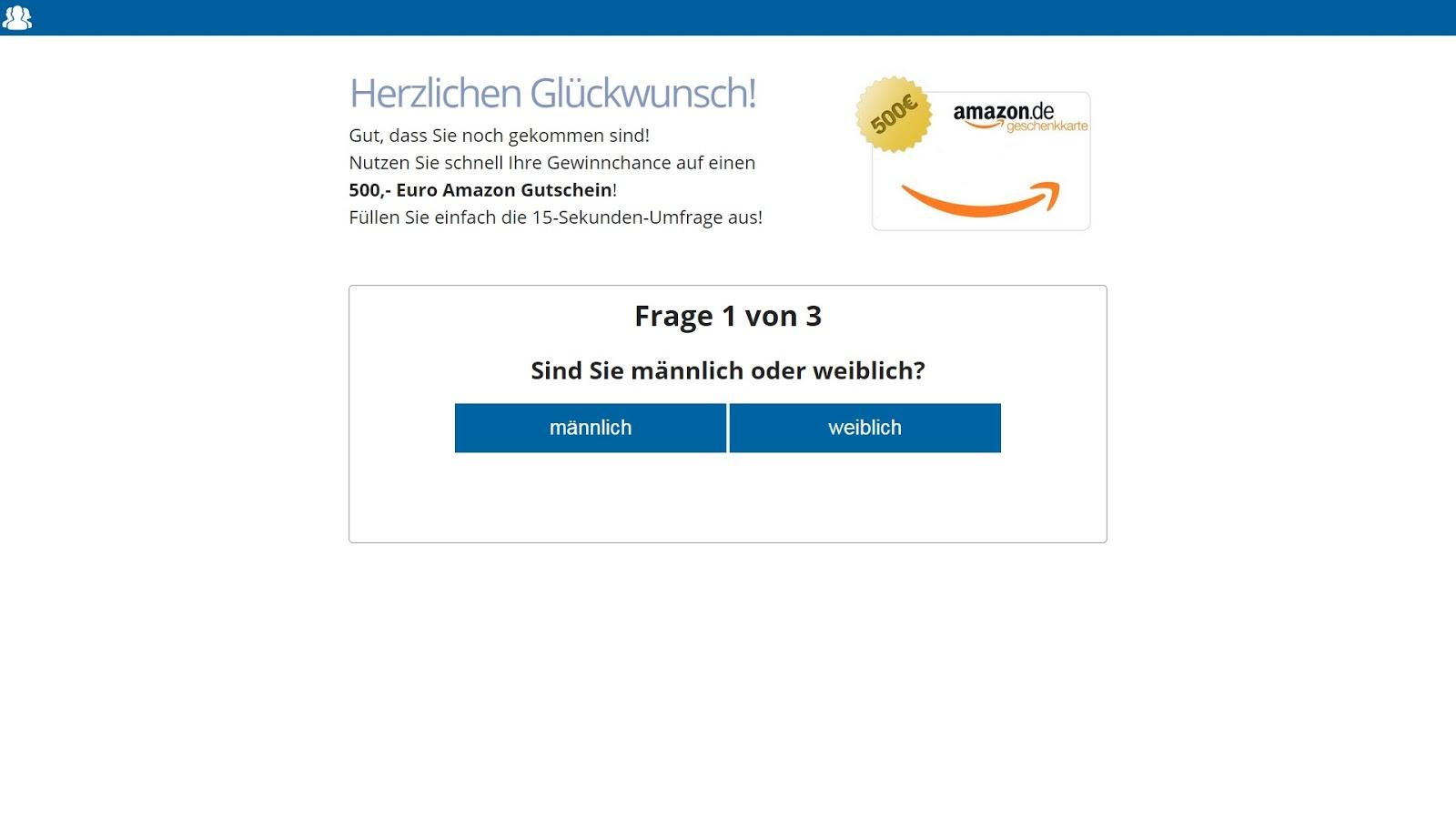 Umfrage Gutschein Amazon
