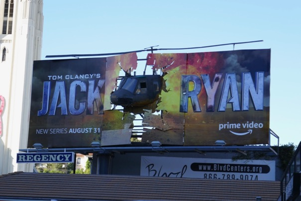Jack Ryan 3D crashed helicopter billboard installation