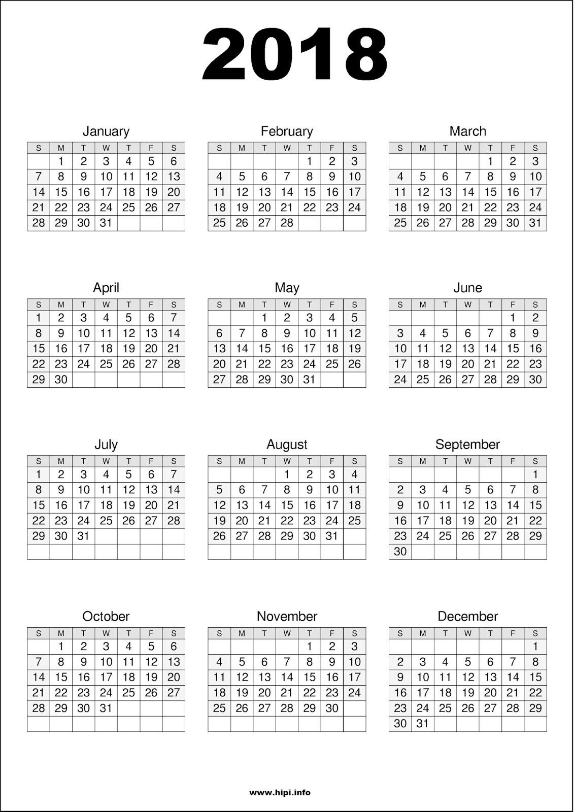 printable free calendar 2018