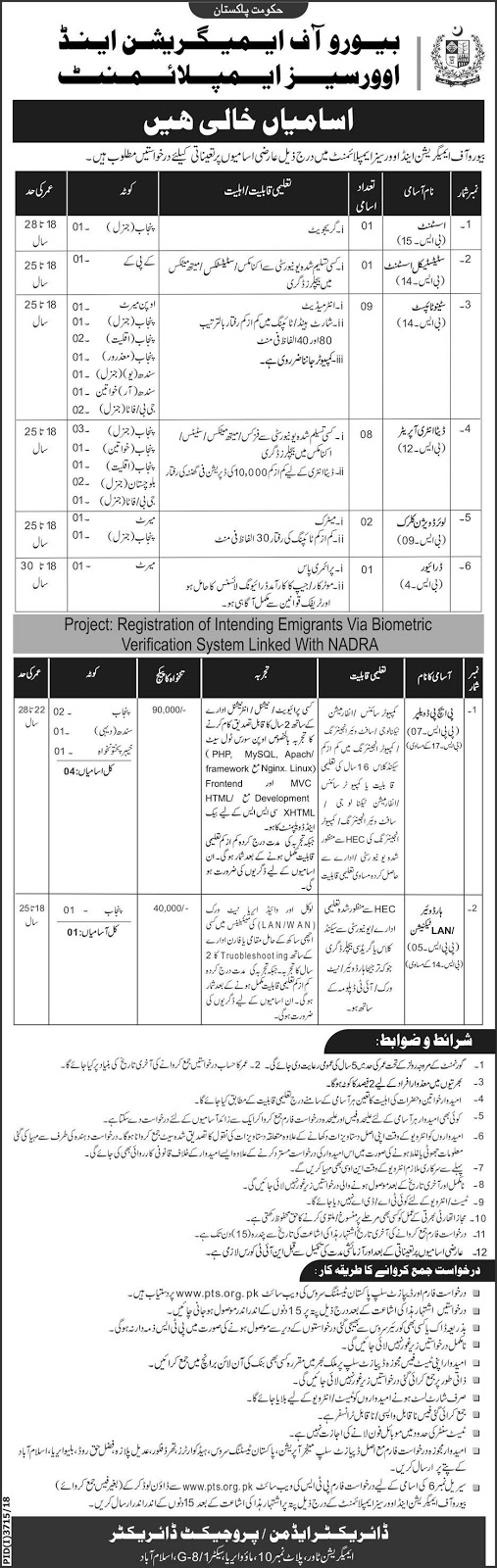 Bureau Of Emigration And Overseas Employment Jobs PTS Feb 2019