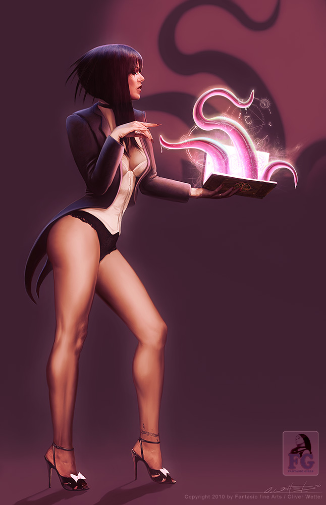 Zatanna inspired pinup holding a book that unfolds dripping wet tentacles as she opens it - this iluustration combining look and attitude from HAjime Sorayama and Serge Birault