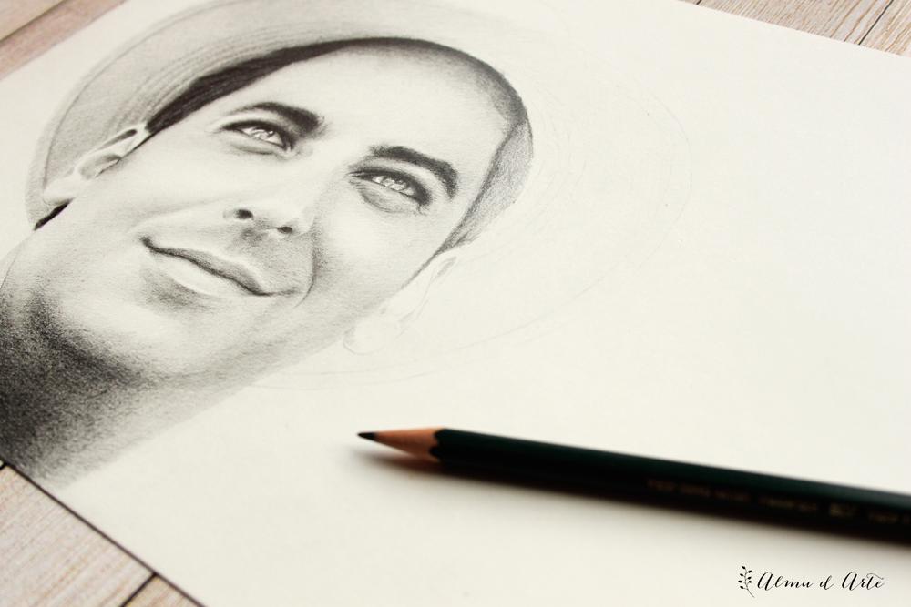 Retrato masculino dibujado a lápiz de grafito