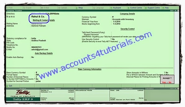 Tally Inventory Tutorial: Problem - 2 (Volume-I) - Accounting & Taxation