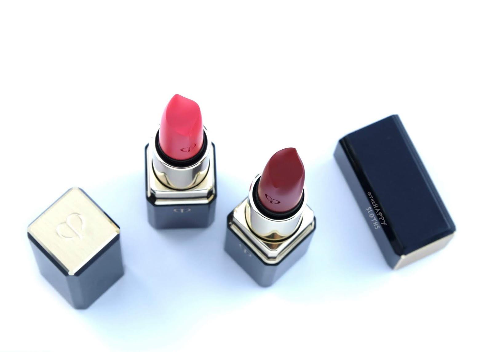"Clé de Peau | Lipstick Cashmere in ""104 Decadent"" & ""106 Wild Geranium"": Review and Swatches"