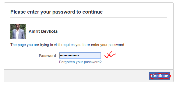How to deactivate Facebook Account-- reenter your password