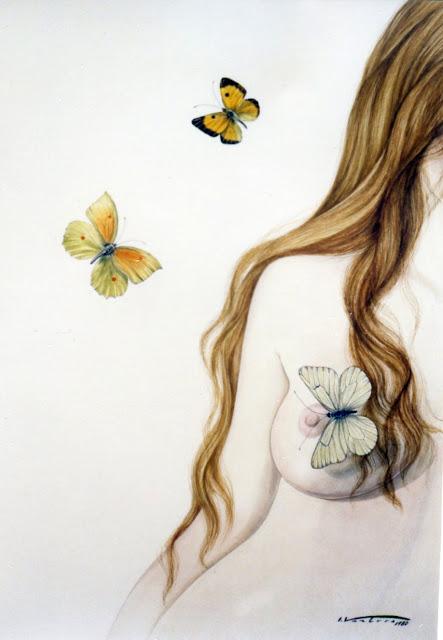 Acuarela surrealista mujer desnudo mariposa pintor catalán Isidro Ventura