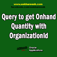 Query to get Onhand Quantity with OrganizationId, www.askhareesh.com