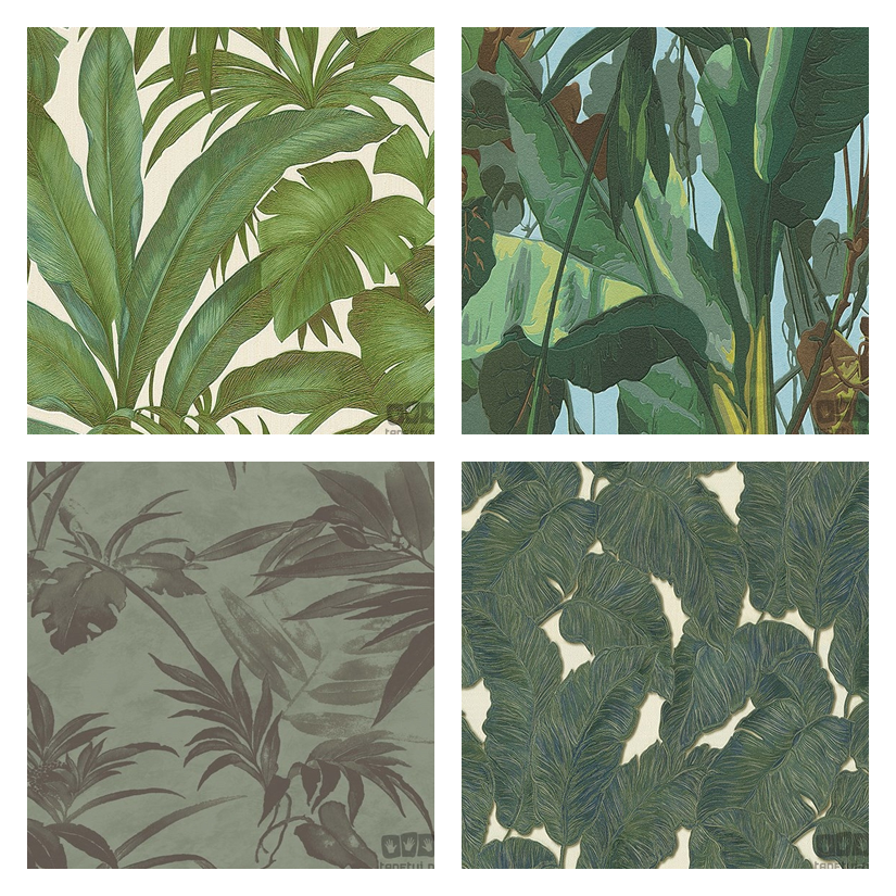tapety w liście palmowe, dżungla na tapecie, tapeta egzotyczny wzór, tapeta liść palmowy, modna tapeta, tapeta do pokoju