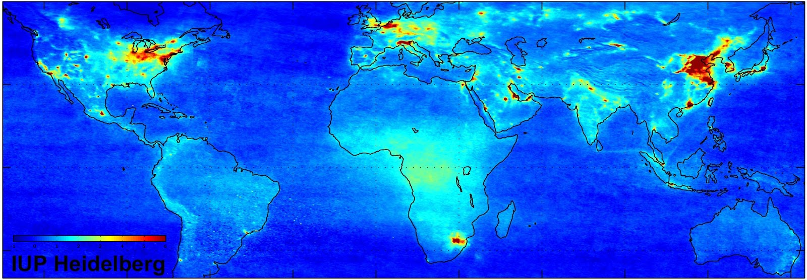Global air pollution, measured by the European Space Agency