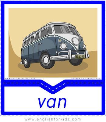 Van printable transportation flashcard with picture