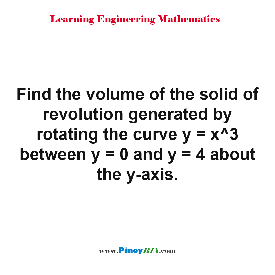 Find the volume of the solid of revolution generated by rotating the curve